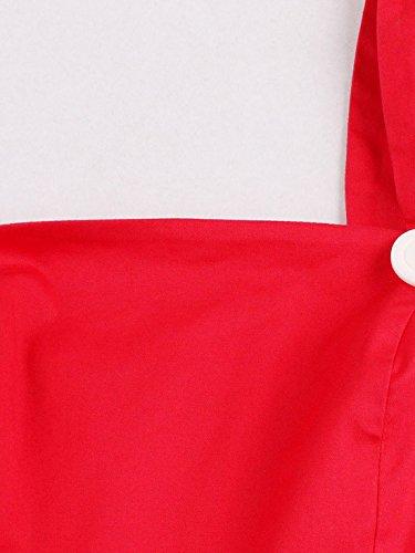 Cinture Partito Delle Spalle Uno Casf Le Maniche Donne Da Estate Vestito Per Rosso qf8wxpAE