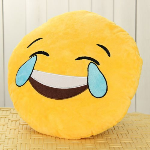 [dolly2u Yellow Round Cushion Soft Emoji Smiley Emoticon Stuffed Plush Toy Doll Pillow#Laugh To Tear] (Knife Throwing Circus Costumes)