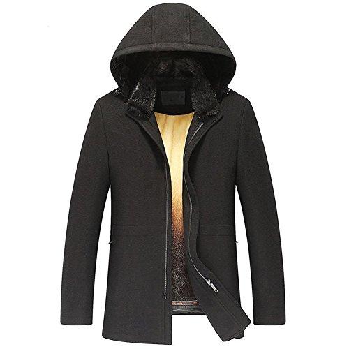 LINAILIN Men's Mink Fur Coat Romovable Mink Fur Lined Coat Hooded Outterwear and Cashmere-Blend Coat Featuring TJ30 (4XL, Black)