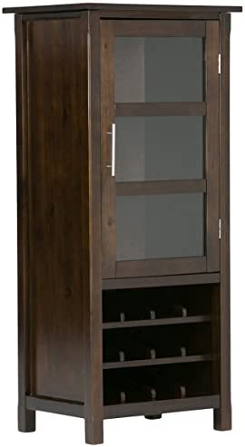 SIMPLIHOME Avalon 12-Bottle SOLID WOOD 22 inch Wide Contemporary High Storage Wine Rack Cabinet