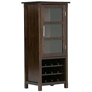 Simpli Home Avalon Solid Wood High Storage Wine Rack, Rich Tobacco Brown