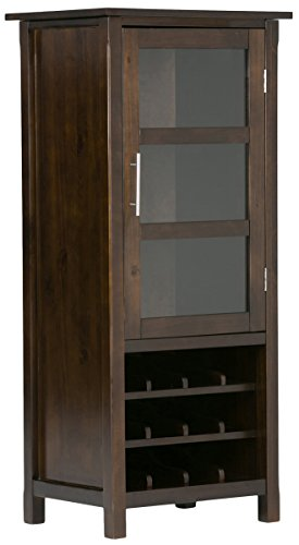 Simpli Home Avalon Solid Wood High Storage Wine Rack, Rich Tobacco Brown (With Glass Bar Cabinet Doors)
