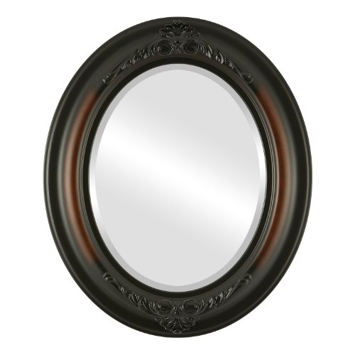 Oval Beveled Wall Mirror for Home Decor - Winchester Style - Walnut - 23x29 outside dimensions