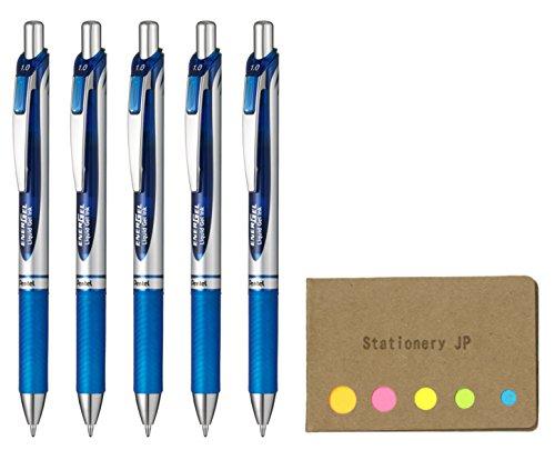 Pentel Energel Retractable Liquid Gel Ink Pen, Bold Point 1.0mm Metal Tip, Blue Ink, Silver Body, 5-Pack, Sticky Notes Value Set