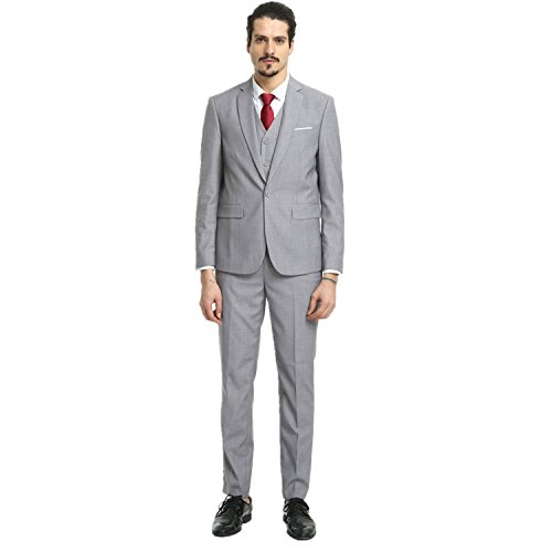 Nitree Men's Slim Fit 3 Piece Suit One Button Blazer Tux Vest & Trousers Grey-3XL ()