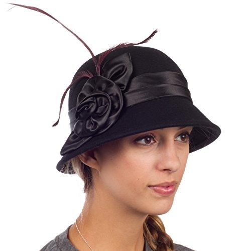 Black Satin Cloche Hat (Sakkas 30041M Danielle Vintage Style Wool Cloche Hat - Black - One Size)