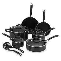 Millennium Black Nonstick Coated Porcelain Enameled Aluminum 12-Piece Cookware Set