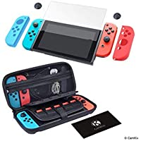 CamKix Grip and Protection Kit Compatible with Nintendo Switch: Nylon Case with 20 Game Card Inserts, Tempered Glass…