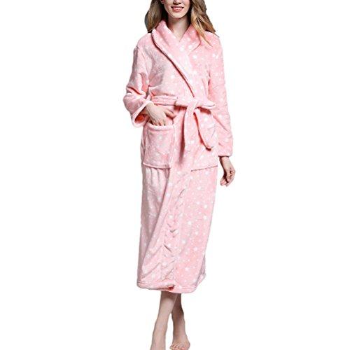 Lovers Pink Adult Nightgown Luxury Plus velvet Size Soft Zhhlaixing Unisex Coral Long Sleepwear 5XA70xq