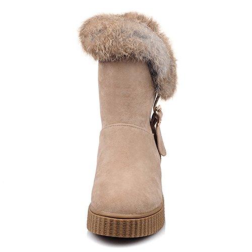 COOLCEPT Women Warm Flatform Snow Boots Pull On Buckle apricot 1DjWKbB