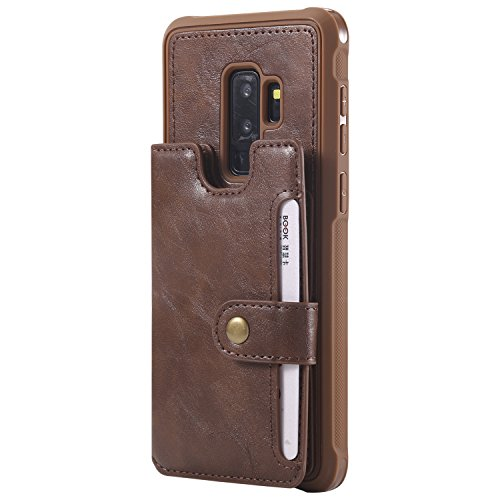 Galaxy S9 Plus S9+ Leather Case,Wallet Coffee Protective Wrist Hand Cash Credit Card Slot ID Window Durable Women Men Magnetic Snap with Stand Cover Shell for Samsung S9 6.2