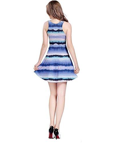 CowCow Damen Kleid Blau crystal blue Gr. XXXXX-Large, Blue & Black Stripes