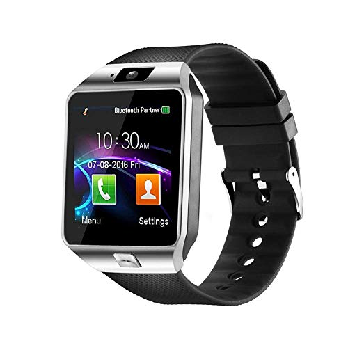 321OU Smart Watch Bluetooth Smart Watch Fitness Tracker with SIM Card Slot Call/Message Camera Pedometer Sleep Monitor Music Compatible Android iOS Phone Samsung Men Women (Silver) (Best Android Twitter App 2019)