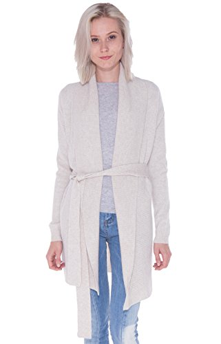 LEBAC Women's 100% Cashmere Ribbed Shawl Collar Long Cardigan Sweater Waist Tie Open Front Overcoat Oatmeal