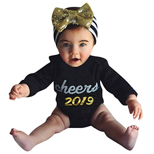 Price comparison product image NUWFOR Newborn Infant Baby Girl Boy Letter Romper Bodysuit Clothes New Year's Outfits(Black, 0-3 Months)