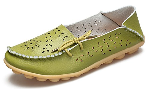 Mocassini Casual In Pelle Da Donna Labatostyle Stile Labato Con Mocassini Slip-on Slipper Verdi-02