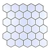 "Carrara Marble Backsplash,HONJAN Renters Groutless Removable Adhesive White Hexagon Vinyl Backsplash for Kitchen Bathroom 10""x10"" Pack of 13 (A)"