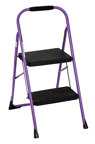 Two Step Folding Ladder (Cosco Two Step Big Step Folding Step Stool with Rubber Hand Grip, Purple)