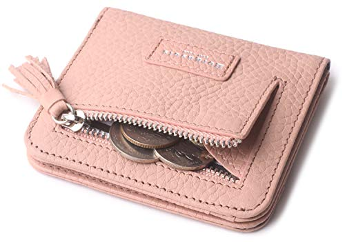 Pink Wallets for Women Small Rfid Cute Bifold Wallet Mini Zip Coin Purse Leather Minimalist ID Credit Card Holder With Tassel