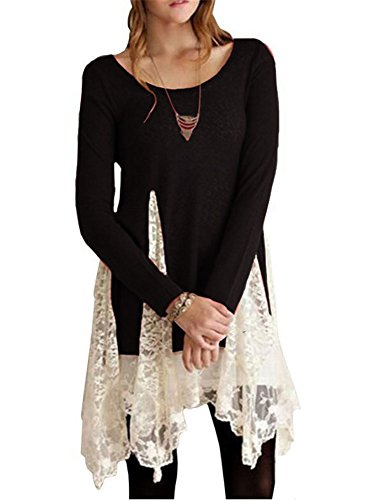 Faaaashion Super Cute Hollow Floral Lace Splicing Flare Hem Tunic Tops Shirt (Flare Lace Blouse)