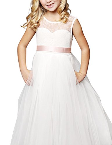 FEESHOW Lace Flower Girl Wedding Pageant Party Gown Tulle Dress with Satin Sash White 8