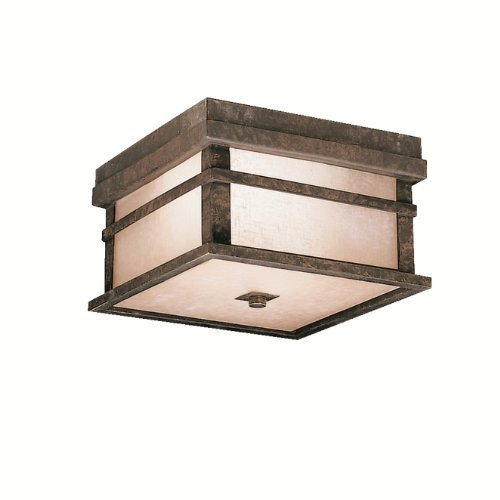 Kichler Lighting 9830AGZ Cross Creek 2-Light Outdoor Ceiling Flush Mount Fixture, Aged Bronze with Textured Linen Seedy Glass by Kichler by Kichler