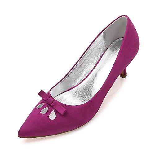 L@YC Mujeres Cerradas Toe Tacones altos Tacones Bajos Mid Gatito aguja Corte Zapatos Hebilla arco Boda Zapatos De Novia Purple