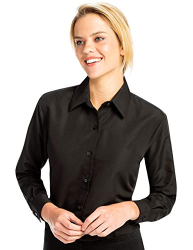 Luxe Microfiber Women's Button-Down Shirt Long Sleeve Regular Fit Point Collar - Style Becky Black ()