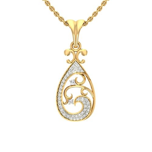 14 K Or jaune 0,13 CT TW Round-cut-diamond (IJ | SI) diamant Pendentif