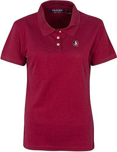 NCAA Florida State Seminoles Women's Solid Pique Short Sleeve Polo Shirt, Medium, Bordeaux - Sleeve Youth Pique Polo