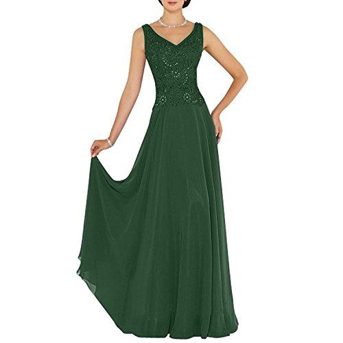 Chiffon v La Festlichkleider Anmutig A mia Lang Braut Dunkel Linie Ausschnitt Abendkleider Ballkleider Gruen Brautmutterkleider TqqtBw0