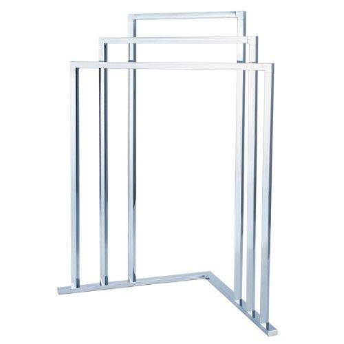 Steel Towel Rack Stand - Kingston Brass SCC8271 L Shape 3-Tier Steel Construction Corner Towel Rack, Polished Chrome