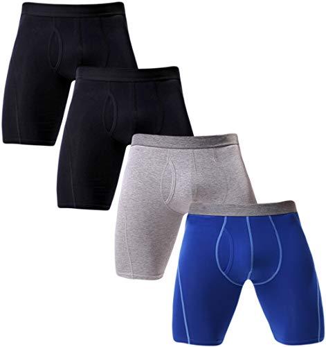 Cotton Stretch Pouch - Rusaevon Boxer Briefs Mens Underwear Men Pack of 4 Soft Cotton Open Fly Underwear X-Large