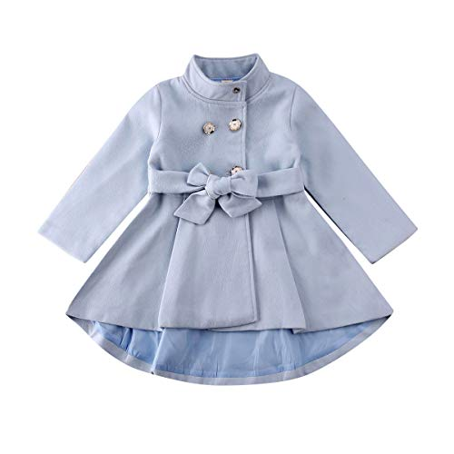 woshilaocai Toddler Kids Baby Girl Fall Winter Clothes Long Sleeve Jacket Trench Coat Windbreaker Breasted Belt Outerwear (Light Blue, 2-3 Years)
