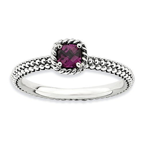 Antiqued Sterling Silver Stackable Rhodolite Garnet Ring, Size 6