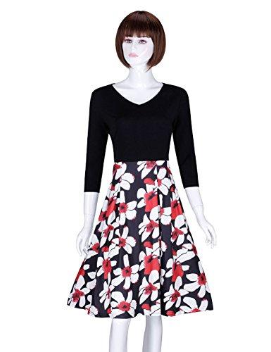 ADAMARIS Women's Autumn Fashion Floral Printed V-Neck 3/4 Sleeve Dress supplier
