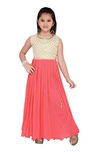 Aarika Girl's Self Design Premium Net Party Wear Gown (G-6253-CREAM-GAJRI_34_12-13 Years) by Aarika