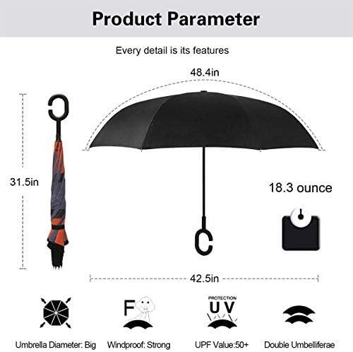 ブラックディスクベッドルーム ユニセックス二重層防水ストレート傘車逆折りたたみ傘C形ハンドル付き