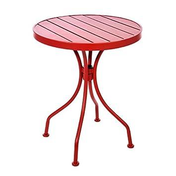 J-Line - Table ronde de jardin en métal rouge: Amazon.fr: Cuisine ...