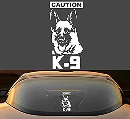 LA DECAL CAUTION K-9 dog on board 12 GLOSS WHITE Vinyl Decal Window Sticker
