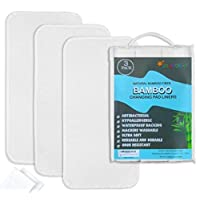 Bamboo Changing Pad Liners 3 + Washcloths 2, Ultra soft, Highly Absorbent, Wa...