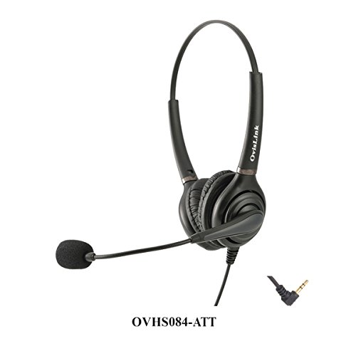 OvisLink Binaural Corded at&T Phone Headset | 2.5mm Headset microphonen Call Center | Noise Canceling Microphone | Over-The-Head Style | 2.5mm Quick Disconnect Cord Included by Ovislink