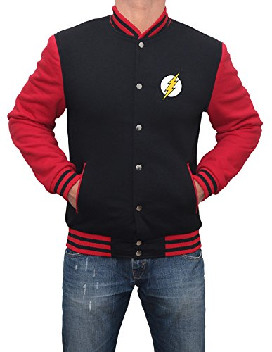 Decrum Mens Superhero Flash Jacket - Black and Red Varsity Jacket | L (Jacket Superhero)