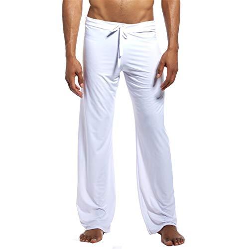 (iYunyi Mens Loose Lounge Pants Sleep Trousers Bottoms Homewear Yoga Pants Pajama (White, US M(Asian L)))