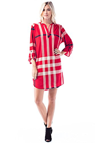 Betsy Red Couture Women's and Plus Size Paid 3/4 Sleeve Soft Knit Tunic Dress (2X, 31967-Red/Ivory/Black)