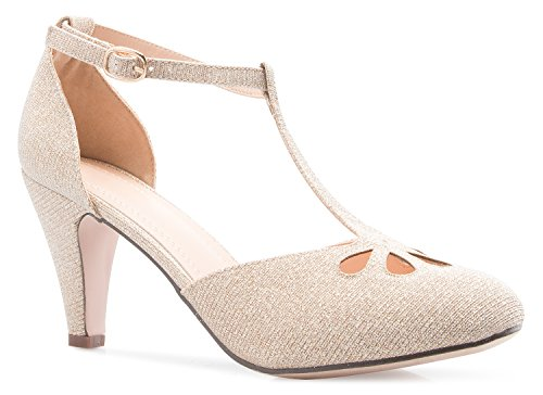 (OLIVIA K Women's Low Heels Mary Jane Pumps - Adorable Vintage Shoes- Unique Round Toe Design with an Adjustable T Strap Champagne Glitter )