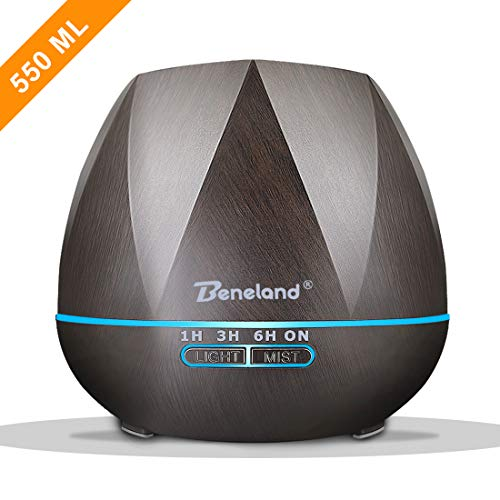Aromatherapy Essential Oil Diffuser, 550 ml Wood Grain Ultrasonic Aroma Humidifier with 4 Timer Setting Low Water Auto Shut-off and 7 Color LED Lights For Home Office Yoga Spa(Brown)