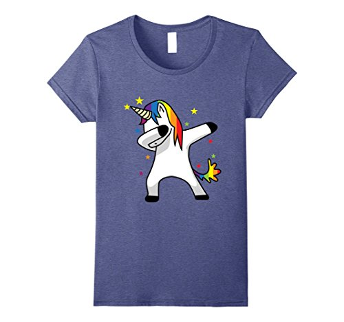 [Women's Dabbing Unicorn T Shirt Dab Hip Hop Funny Magic Rainbow Small Heather Blue] (Pug Costumes For Christmas)