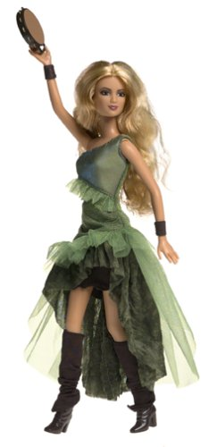 Barbie In A Box Costume (Barbie Year 2003 International Superstar 12 Inch Doll - Shakira in green dress, boots with tambourine by Mattel)