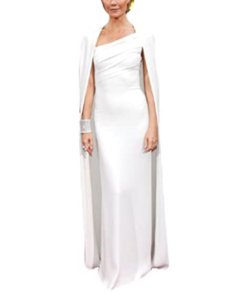 Gorgeous White Evening Gowns For Women Formal Dresses With Cape Celebrity Dress Long